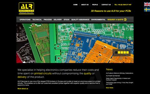 Screenshot of Home Page alrpcbs.co.uk - ALR Services Ltd | Printed Circuit Boards - captured Oct. 4, 2014