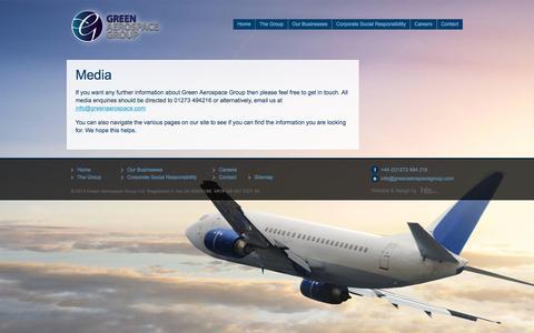 Screenshot of Press Page greenaerospacegroup.com - Media contacts - Green Aerospace Group - captured May 24, 2017