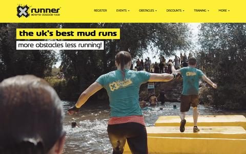Screenshot of Home Page xrunner.co.uk - The UK's best mud runs and obstacle races - X-Runner - captured July 26, 2018