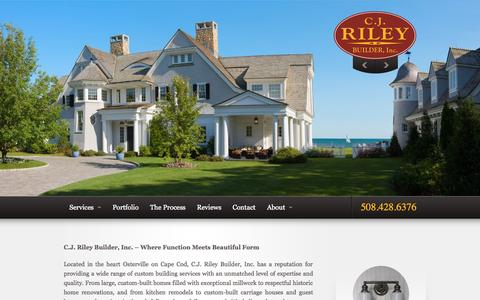 Screenshot of Home Page cjriley.com - Home Builders • Home Remodeling • Kitchen Remodel - General Contractor Cape Cod | C J Riley Builder Inc Osterville, MA 02655 - captured Sept. 25, 2015