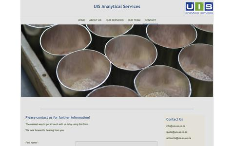 Screenshot of Contact Page uis-as.co.za - UIS Analytical Services - Contact - captured Sept. 30, 2018