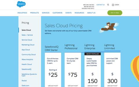 Screenshot of Pricing Page salesforce.com - Editions & Pricing - Sales Cloud - captured March 9, 2017