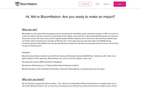 Screenshot of Jobs Page bloomnation.com - Careers & Employment at BloomNation - captured July 13, 2018