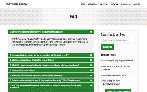 Screenshot of FAQ Page donnellyenergy.com - FAQ - Donnelly Energy - captured Aug. 7, 2018