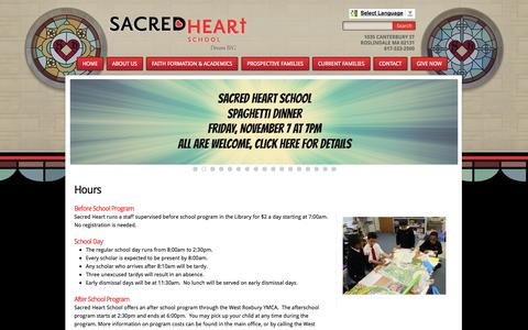 Screenshot of Hours Page sacredheart-boston.org - Sacred Heart School: Hours - captured Nov. 2, 2014