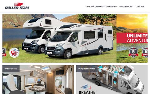 Screenshot of Home Page rollerteammotorhomes.co.uk - Roller Team Motorhome Manufacturers - captured Feb. 7, 2018
