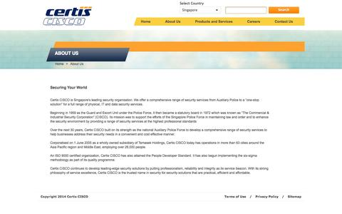 Screenshot of About Page certissecurity.com - Certis CISCO Security - About Us - captured Nov. 1, 2014