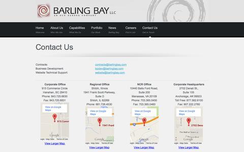 Screenshot of Contact Page Locations Page barlingbay.com - Barling Bay, LLC | Contact Us - captured Oct. 23, 2014