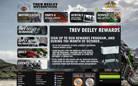 Screenshot of Home Page trevdeeley.com - Home | Trev Deeley Motorcycles - captured Oct. 9, 2014