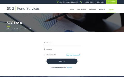 Screenshot of Login Page scgfundservices.com - SCG Login | SCG FUND SERVICES - captured Oct. 24, 2018