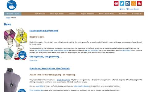Screenshot of Press Page dritz.com - News | Dritz Quilting, Sewing & Crafting Supplies - captured Jan. 17, 2016