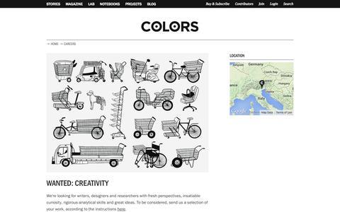 Screenshot of Jobs Page colorsmagazine.com - Careers | COLORS Magazine - captured Sept. 19, 2014