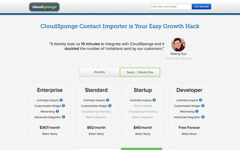 Screenshot of Pricing Page cloudsponge.com - CloudSponge Contact Importer is Your Easy Growth Hack | CloudSponge - captured Oct. 28, 2014