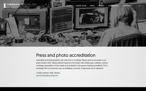Screenshot of Press Page euroblast.net - Euroblast Festival /// Press accreditation - captured Oct. 22, 2018