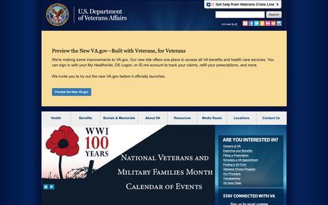 Screenshot of Home Page va.gov - U.S. Department of Veterans Affairs - captured Nov. 7, 2018