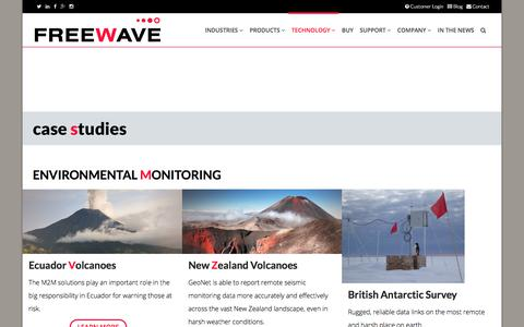 Screenshot of Case Studies Page freewave.com - Case Studies for Industrial IoT, IIoT, M2M, and Fog Computing solutions - captured June 28, 2017