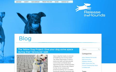 Screenshot of Blog releasethehounds.ca - RTH Vancouver Dog Training and Walking Blog - captured Oct. 26, 2014