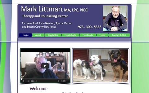 Screenshot of Home Page marklittman.com - Mark Littman Counseling for Parenting, Depression, Anxiety - captured Sept. 30, 2014