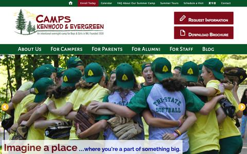 Screenshot of Home Page kenwood-evergreen.com - Camps Kenwood & Evergreen - For Boys and Girls - captured Jan. 23, 2015