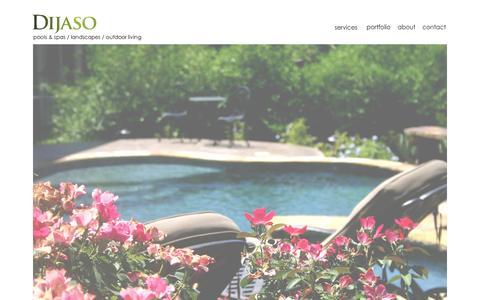 Screenshot of Home Page dijaso.com - Dijaso - landscape design, watershape design, outdoor living - captured Sept. 30, 2014