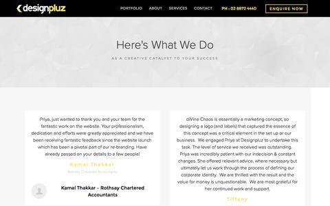 Screenshot of Testimonials Page designpluz.com.au - Testimonials - captured Feb. 13, 2016