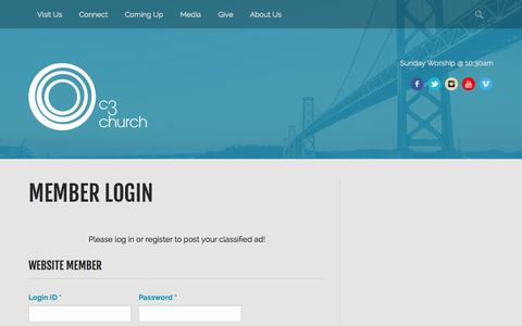 Screenshot of Login Page nm-secure.com - C3 Church | Member Login - captured Sept. 24, 2014