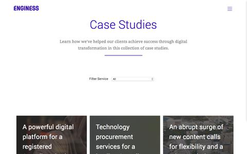 Screenshot of Case Studies Page enginess.io - Case Studies | Enginess - captured July 11, 2018