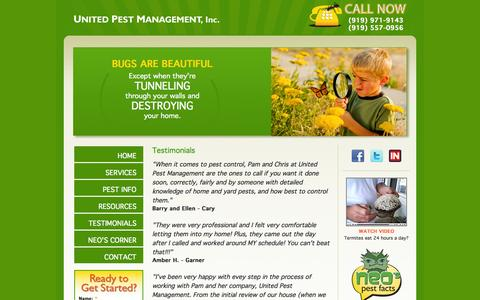 Screenshot of Testimonials Page unitedpestmanagement.com - Testimonials | United Pest Management | Pest Control in Fuquay-Varina and Apex - captured Oct. 27, 2014