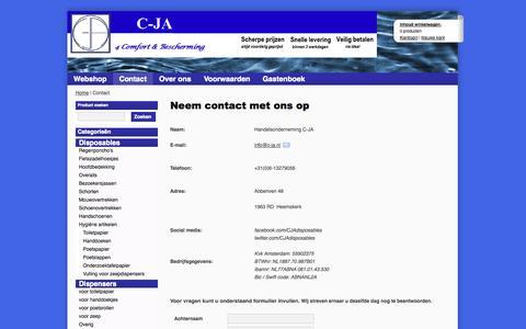 Screenshot of Contact Page c-ja.nl - Contact - C-JA, 4 Comfort & Bescherming - captured Oct. 2, 2014