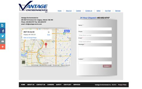 Screenshot of Privacy Page Contact Page vantage-enviro.com - Contact Us - captured Oct. 26, 2014