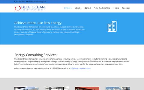 Screenshot of Services Page blueoceanenergy.net - Energy Consulting Services - Blue Ocean Energy Management - captured June 1, 2017