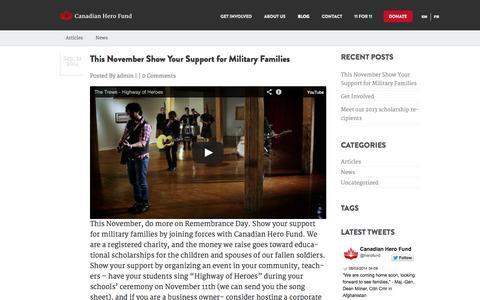 Screenshot of Blog herofund.ca - Blog   Canadian Hero Fund - captured Oct. 1, 2014