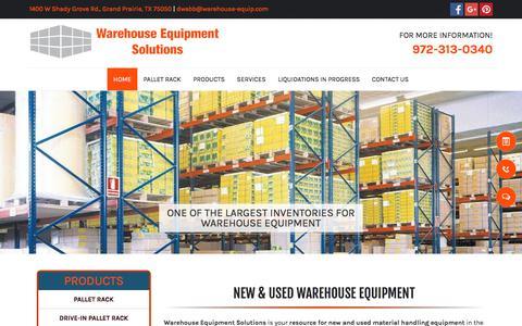 Screenshot of Home Page warehouse-equipment-solutions.com - Warehouse Equipment - Grand Prairie, TX - Warehouse Equipment Solutions - captured July 8, 2018