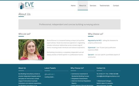 Screenshot of About Page evebuildingconsultancy.co.uk - Building Surveys – Eve Building Consultancy Ltd – Chartered Building Surveyors based in Gloucestershire - captured Oct. 3, 2014