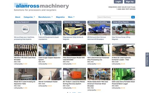 Screenshot of Home Page alanross.biz - Alan Ross Machinery | Solutions for processors and recyclers - captured Jan. 23, 2015