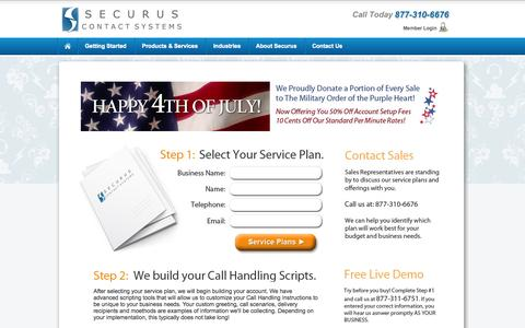 Screenshot of Pricing Page securuscontactsystems.com - Answering Service, Virtual Receptionist, Call Center - captured Sept. 29, 2014