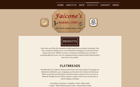 Screenshot of Products Page falconebaking.com - CONTACT US - Falcone's Baking Corp. - captured Oct. 5, 2014