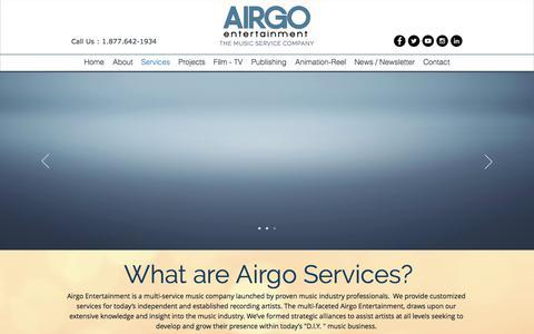 Screenshot of Services Page airgoentertainment.com - airgoentertainment | Services - captured Oct. 7, 2017