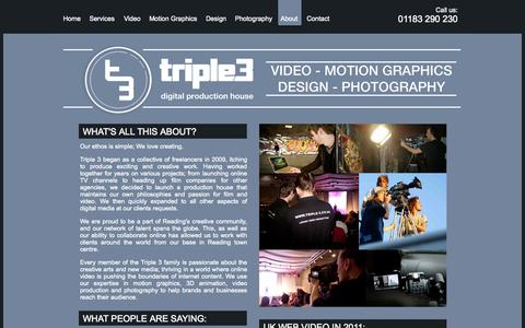 Screenshot of About Page triple-3.co.uk - Triple 3 | About - captured Oct. 8, 2014