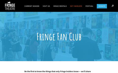 Screenshot of Signup Page fringetheatre.ca - Keep Up With The Fringe By Joining Our Fan Club - captured Oct. 11, 2018