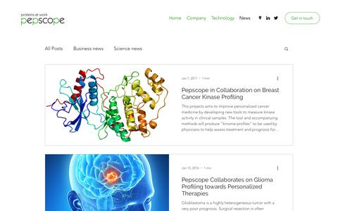 Screenshot of Press Page pepscope.com - Pepscope News about Kinome Profiling - captured Dec. 8, 2018