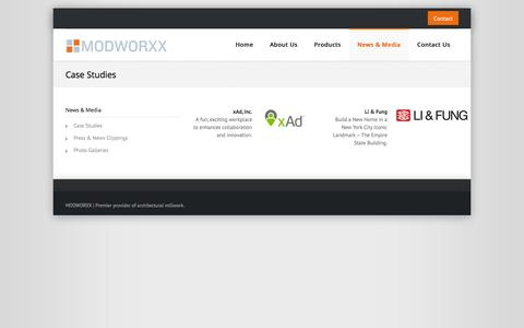Screenshot of Case Studies Page modworxx.com - Case Studies ‹ ModworxxModworxx - captured Oct. 7, 2014