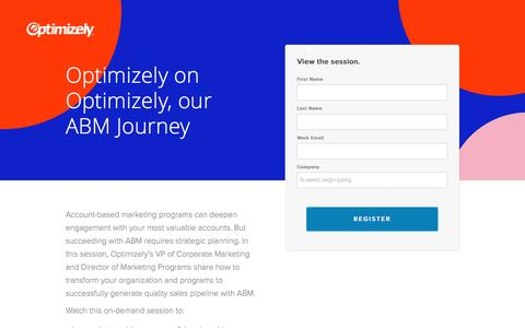 Screenshot of Landing Page optimizely.com - Optimizely on Optimizely, our ABM Journey - captured April 29, 2017