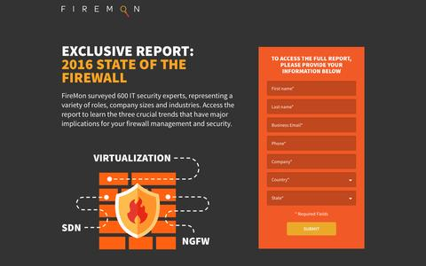 Screenshot of Landing Page firemon.com - Avoid Firewall Sprawl - Firemon - captured Oct. 14, 2016