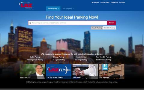 Screenshot of Home Page lazparking.com - LAZ Parking | Reserve Parking Now | Best Parking Garages - captured Dec. 5, 2015