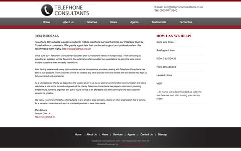 Screenshot of Testimonials Page telephoneconsultants.co.uk - Telephone Systems from Telephone Consultants - captured Oct. 9, 2014
