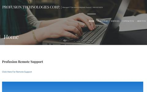 Screenshot of Home Page profusion.ca - Home - Profusion Technologies Corp. - captured Sept. 30, 2018