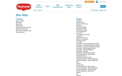 Screenshot of Site Map Page tinylove.com - sitemap - captured Sept. 19, 2014