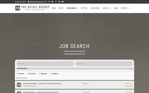 Screenshot of Jobs Page retailagency.co.uk - JOB SEARCH - The Retail Agency - captured Feb. 28, 2016