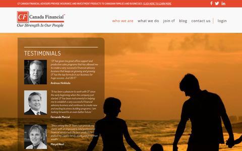 Screenshot of Testimonials Page canadafinancial.ca - Testimonials | Canada Financial - captured Jan. 22, 2016